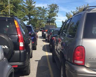 Cramming cars at Career Center