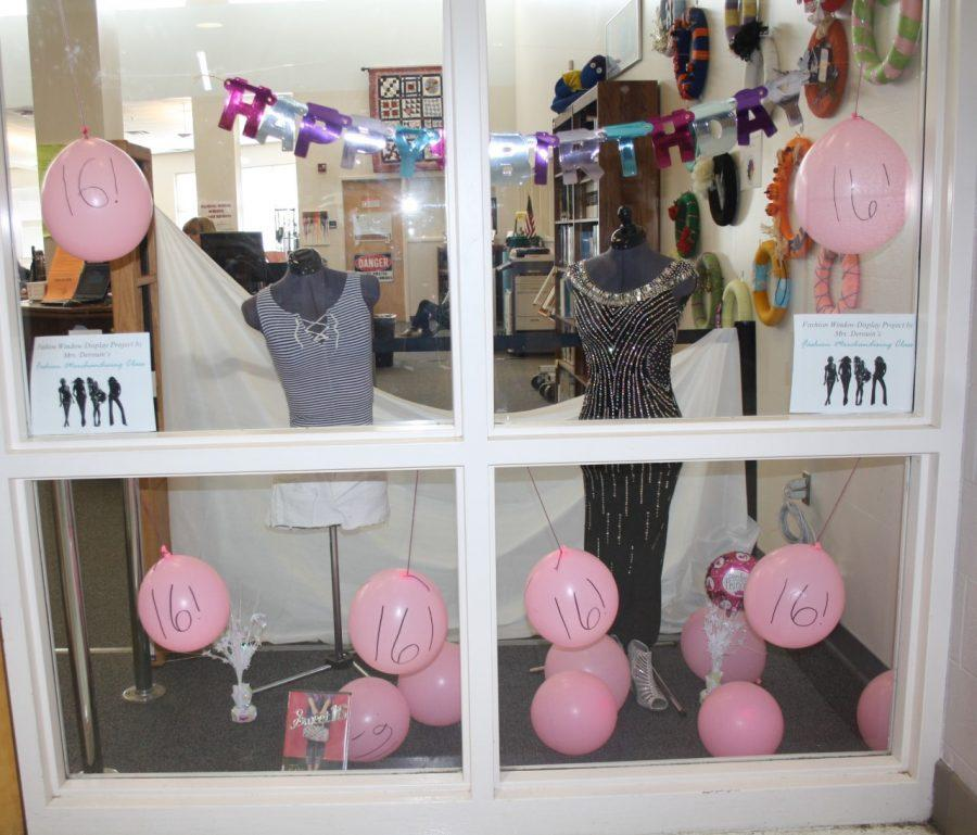 The+%2216th+Birthday%22+window+display+in+the+Media+Center+created+by+the+Fashion+Merchandising+classes.+