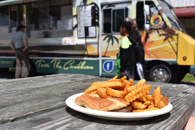 A hamburger and fries from the food truck King Queen #1 Haitian Cuisine sits on a biodegradable plate.  The entire fair's food and products had to be able to be recycled.