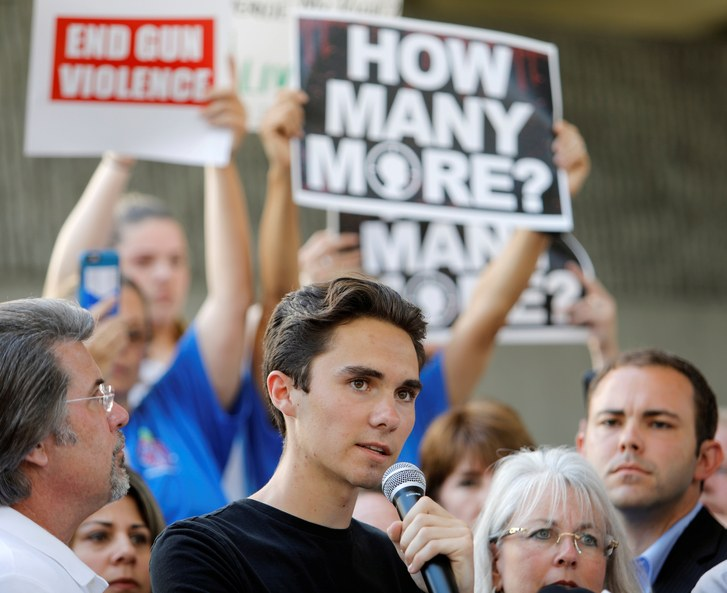 David+Hogg%2C+Marjory+Stoneman+Douglas+High+School+shooting+survivor%2C+addresses+a+crowd.+He+has+been+a+major+player+in+the+fight+to+reach+a+gun+control+agreement.