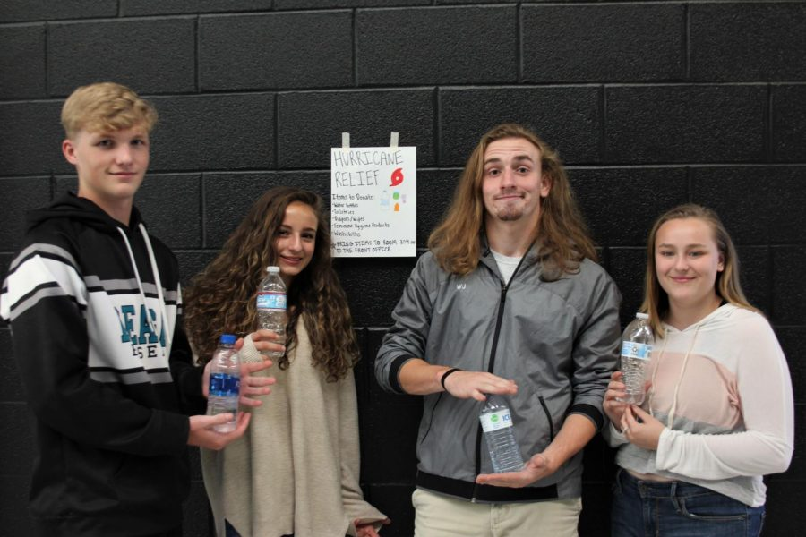 Students at Reagan go above and beyond to help victims. They collected water bottles and other toiletries needed.