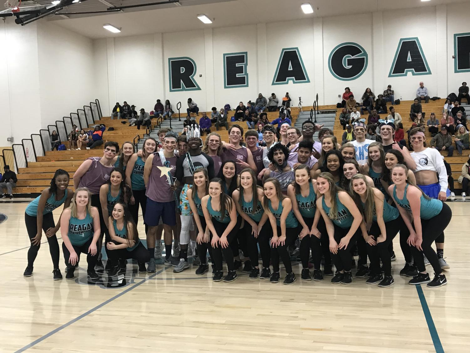 The new King and Prince pose with the other nominees and Raiderettes. This year they raised $4,209.28 for St. Jude's Children's Hospital.