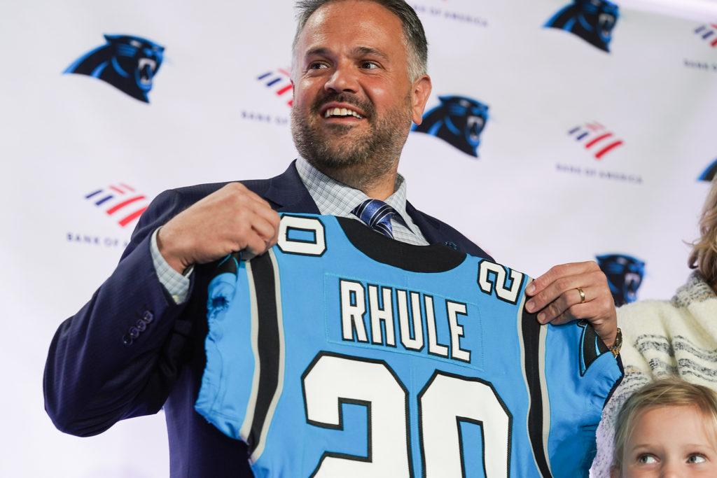Jan 8, 2020; Charlotte, North Carolina, USA; Carolina Panthers new head coach Matt Ruhle holds up a jersey at Atrium Health Dome. Mandatory Credit: Jim Dedmon-USA TODAY Sports