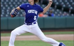 Hartle pitches during the All-American game. Hartle has pitched for Reagan since his freshman year.