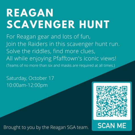 The Reagan SGA Scavenger Hunt will be held from 10 am until 12 pm on Oct. 17. More information can be found on the Reagan website or SGA Instagram account @reaganstudentgov.