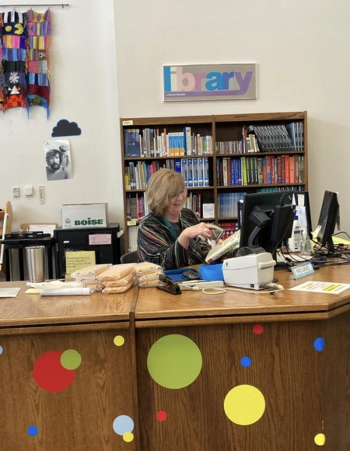 Patty Lasko is this years Classified Employee of the month. Lasko sits happily at her desk as she awaits students arrivals.