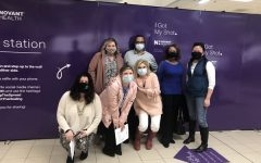 A group of Reagan teachers after receiving their vaccines. Vaccines became available for teachers in February.